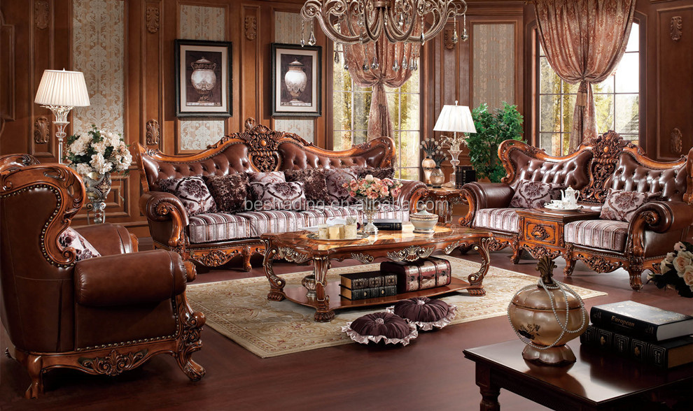Half Fabric Half Leather Sofa Wood Frame Sofa Living Room