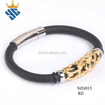 14d504a140f9 Caucho negro pulsera de cuero con cuentas chapado en oro para hombre  brazalete fresco