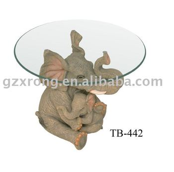 Cute Polyresin MOTHER And KIDS Elephant Coffee Table Home Furniture
