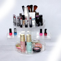 Alibaba Manufacturer DIY Design Cosmetic Organizer Brush Holder Nail Polish Case Clear Rotating Acrylic Makeup Storage Cabinet