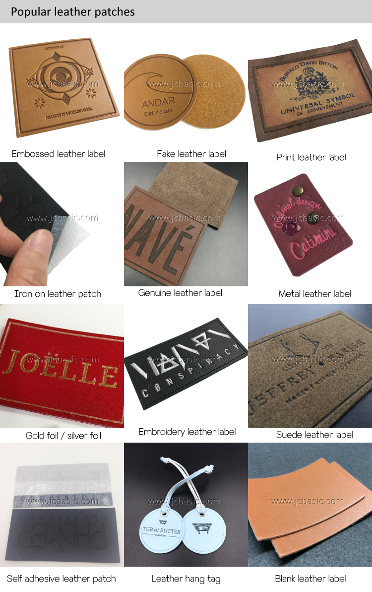 Custom fashion design embossed logo PU leather patch