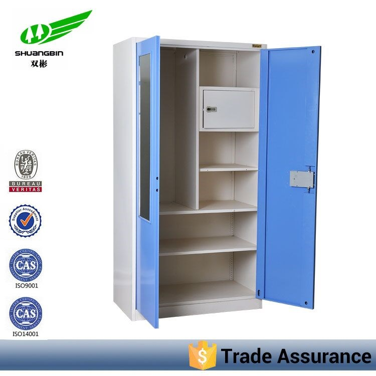 2 Door Steel Almirah Blue Bedroom Metal Cheap Clothes Cabinet With Mirror