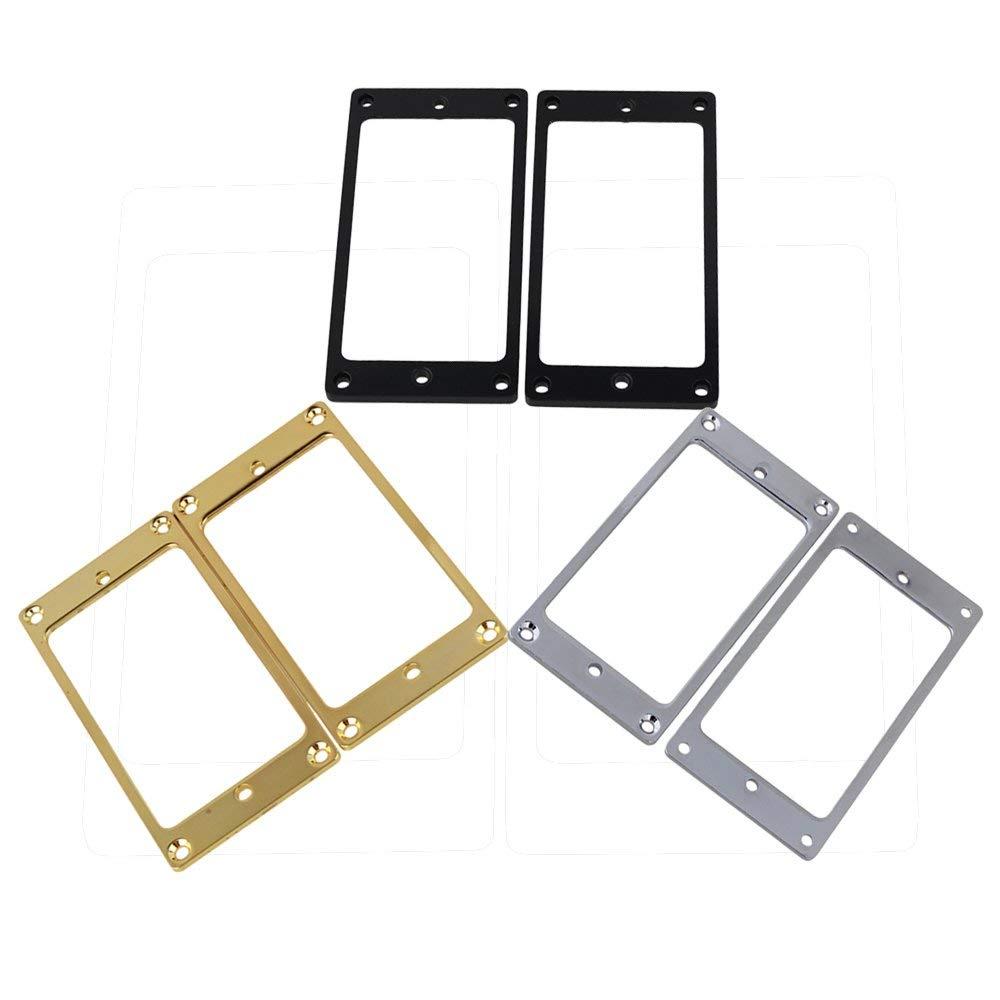 Mxfans 6PCS Metal Flat Humbucker Pickup Frame Cover Plate Chrome & Black & Gold