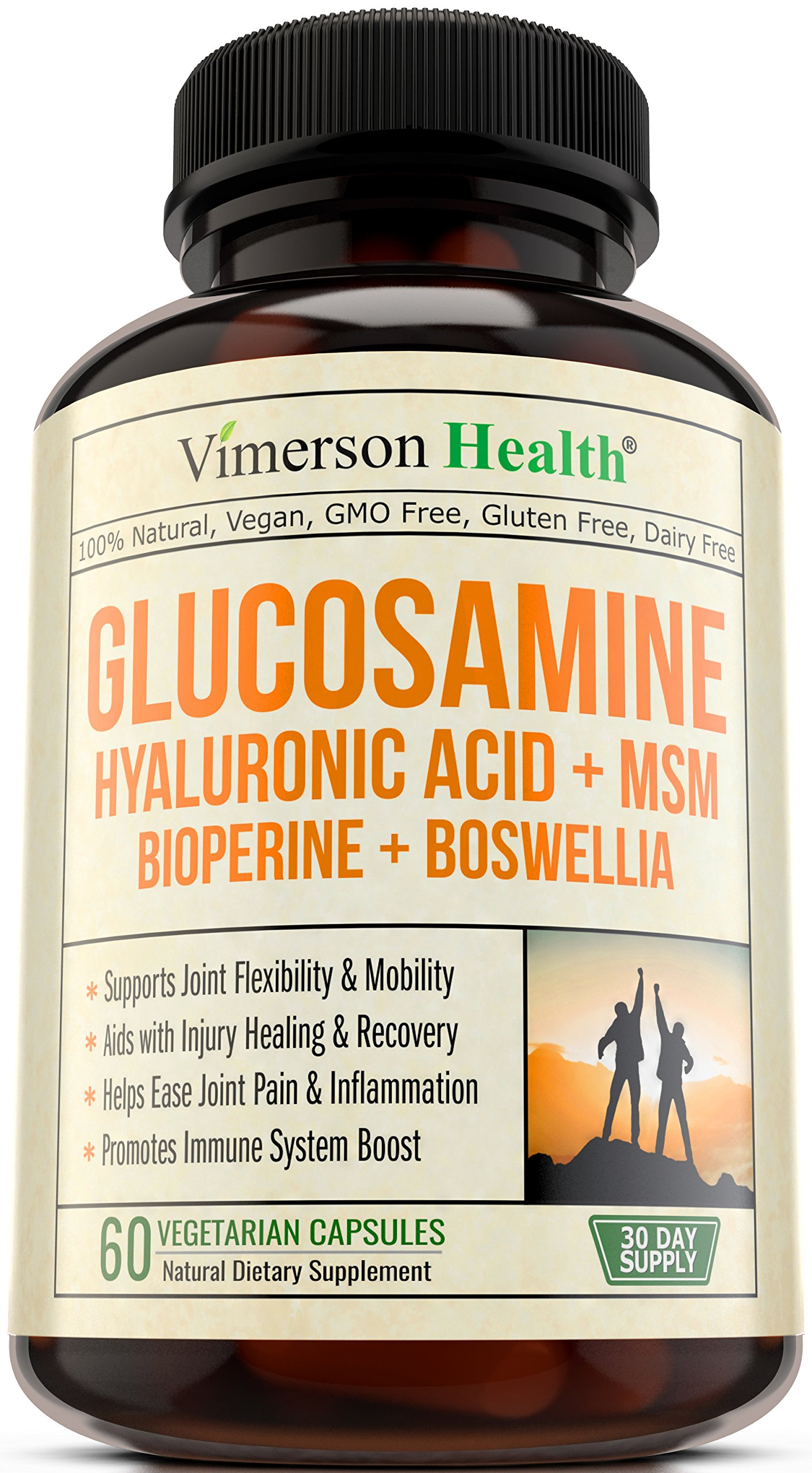 Glucosamine + Hyaluronic Acid + Bioperine + MSM + Boswellia - 100% Vegan Joint Pain Relief Supplement. Natural Anti-Inflammatory & Antioxidant Pills for your Back, Knees, Hands. Immune System Booster