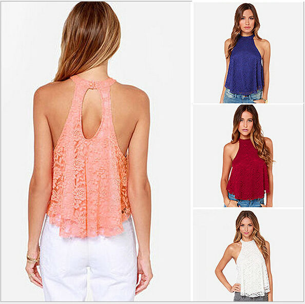 3a953306ba254 Get Quotations · Lace Hollow Out Sexy Women Tank 2015 Fashion Hang Neck  White Pink Red
