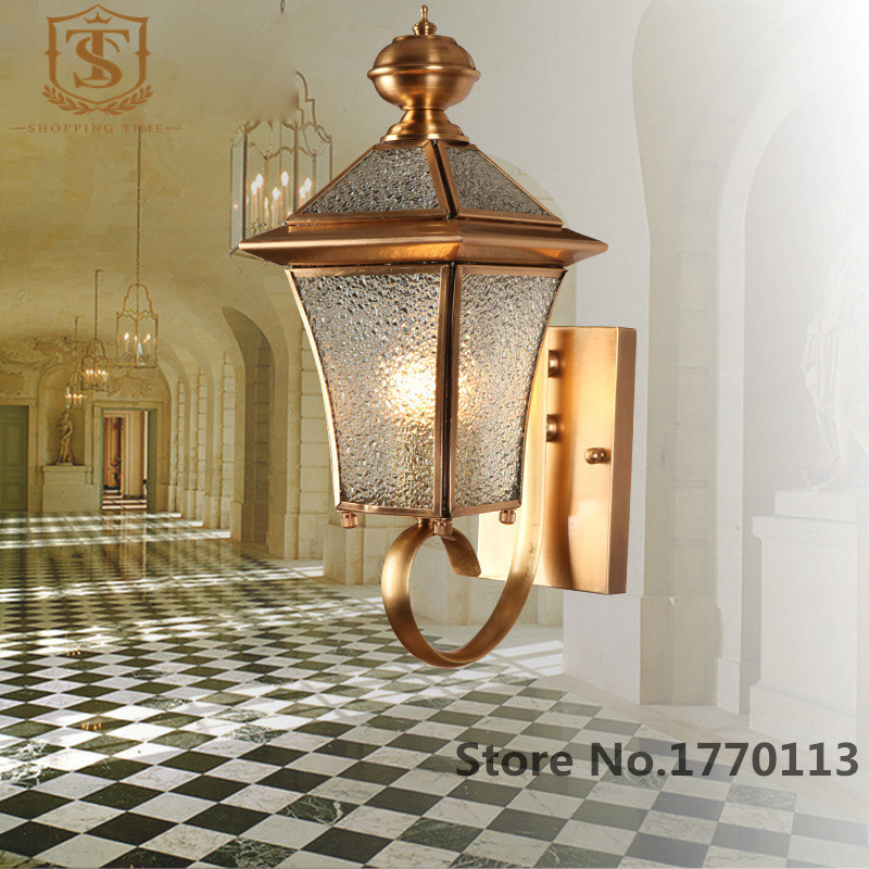 Discount Outdoor Wall Lighting: American-Style-Copper-Wall-Lamp-Cheap-Corridor-Outdoor