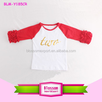Children Girls Latest Design Birthday Print Shirt Monogram Icing Ruffle T Shirts Kids Clothing Raglan