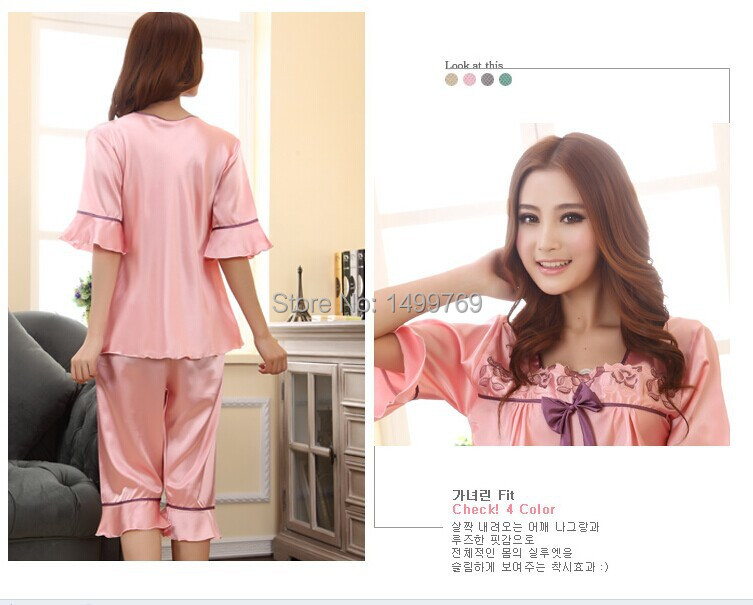 Get Quotations · 2015 summer spring autumn cute womens silk satin sleep  suit pajama sets sleepwear sets nightgown sets 57d854f2d