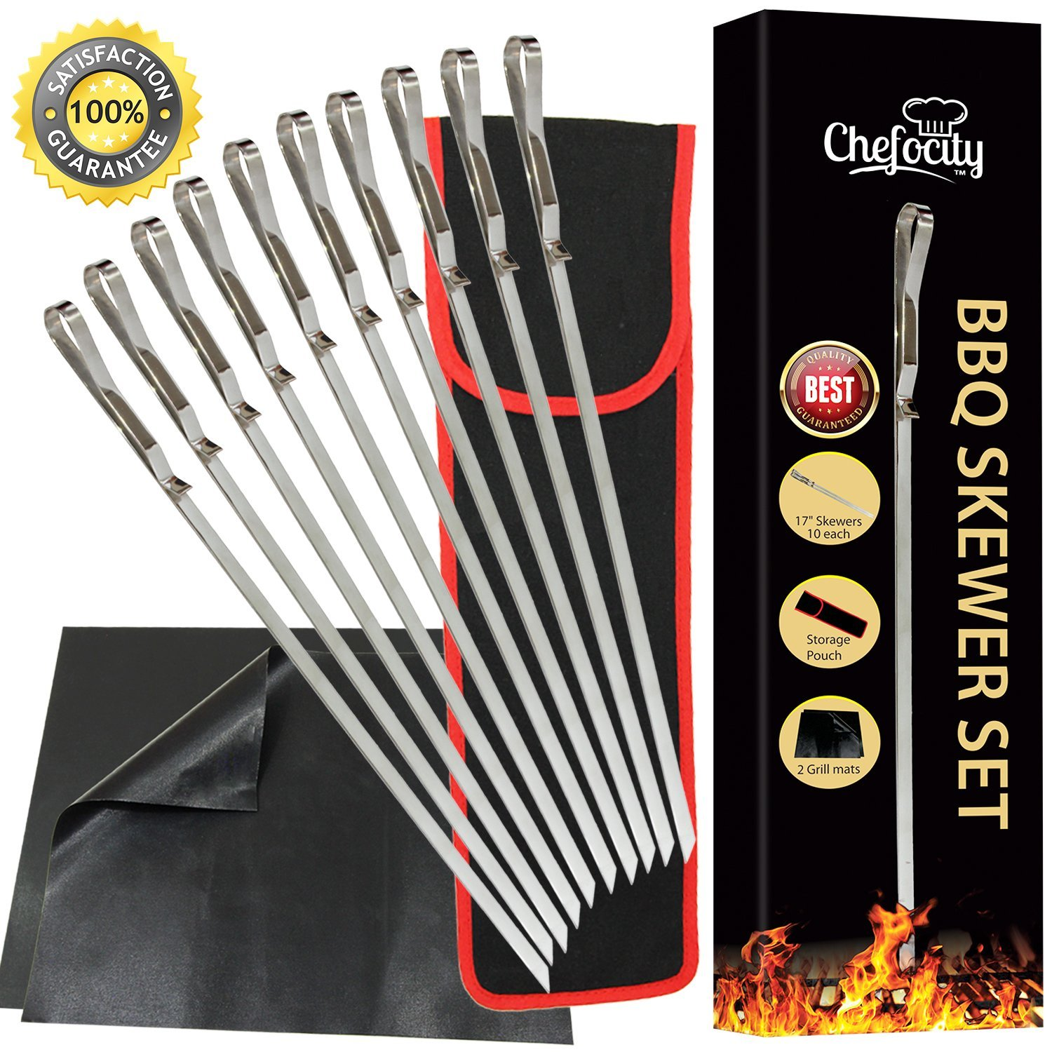 "Chefocity BBQ Kabob Skewers For Grilling, Stainless Steel 17"" Long, Extra Wide Flat Metal Skewers - Barbecue Grill Mats - Storage Bag - 13 Piece Set + Free Ebook"