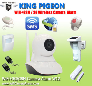WIFI IP Camera GSM Alarm PTZ Control Remote Monitoring Home Burglar System W12