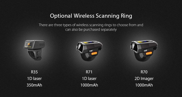 Android portable warehouse wearable pda with barcode ring scanner qr code scanner
