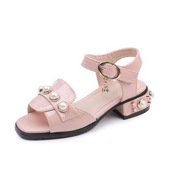 2b3ebed2ab8 Patent leather black or pink chunky heels sandals open toe summer fashion  with pearls and diamante