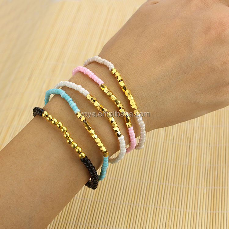 Brr0710 Fashion Diy Seed Bead Bracelets Small Tiny Gold Metal Nugget Beads