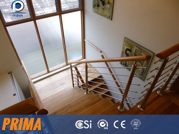 Satin Finish Stainless Steel Stair Railing With Wood Handrail