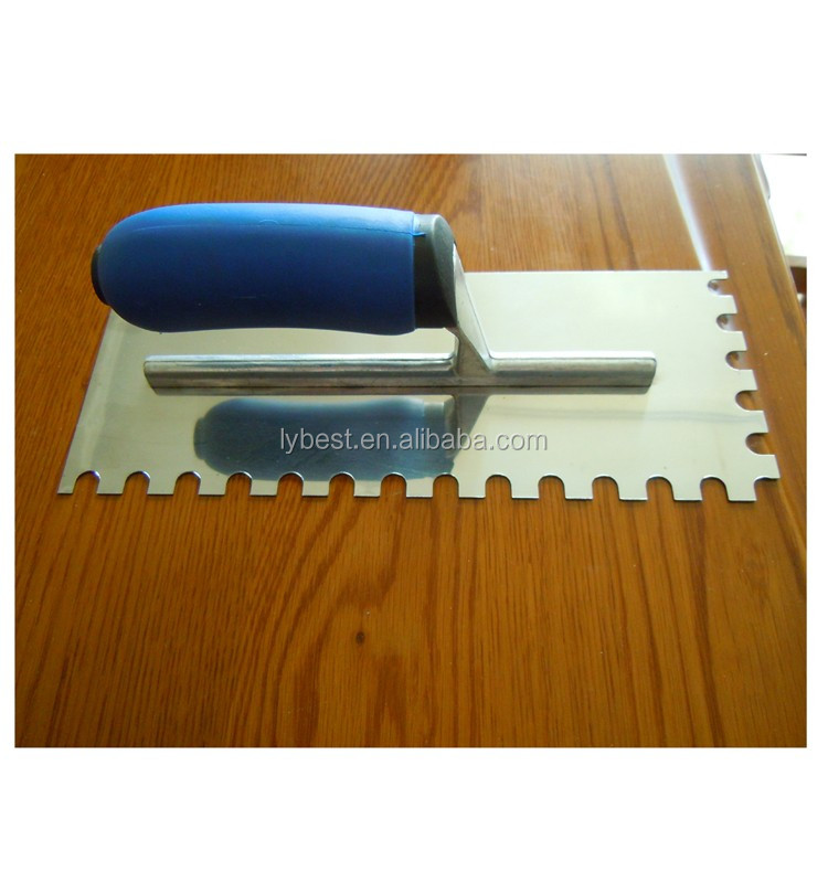 carbon steel plastering brick notched trowel with wooden/plastic handle