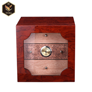 Luxury guangzhou yujia Cohiba cigar box Spanish Cedar wood Cigar Cabinet Humidor handmade cigar humidors with Lock Humidifier