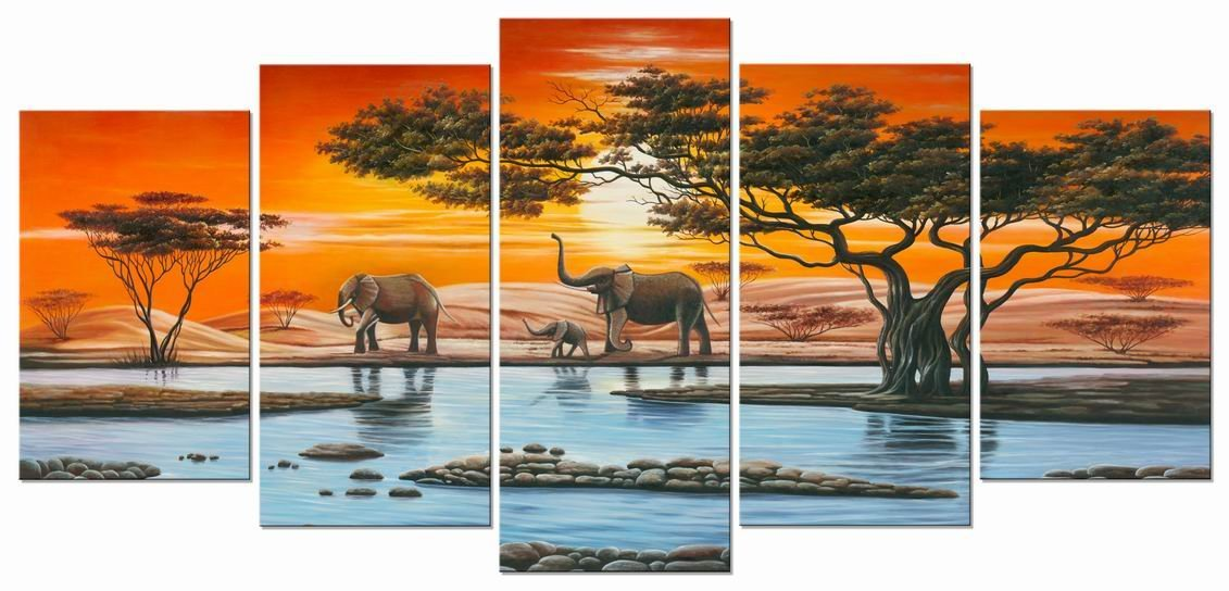 Wieco Art - Elephant Family Modern 5 Panel Framed African Landscape Giclee Canvas Prints Artwork Animals Paintings Reproduction Pictures on Canvas Wall Art for Living Room Home Decorations