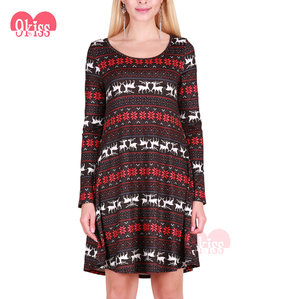 Women's Long Sleeve Christmas Print Xmas Gifts Casual Dress