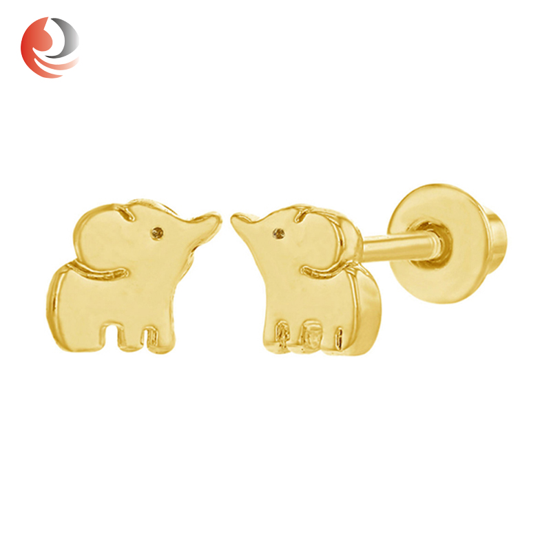 Solid Gold 14k Elephant Baby Earrings With Safety Backs For Product On