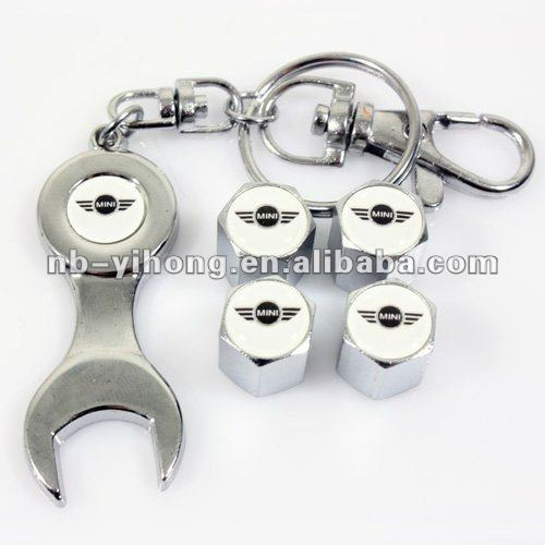 Car logo Tire Wheel Rims Stem Valve Caps & Wrench Keychain Chrome
