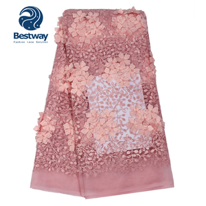 Fashionable Baby Pink French Lace 3D Flower African Lace Embroidered 2018 Nigerian Fabrics For Wedding Dresses FL0316