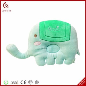 Embroidery Logo Animal Toy Child Cushion Cartoon Long Nose Elephant Throw Pillow Plush 3D Elephant Infant Pillow