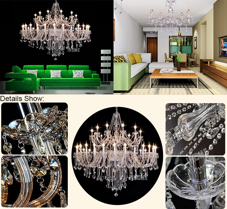 Hot Sale Modern Style Elegance Luxury Amber Crystal Big Chandelier Baccarat Pendant light