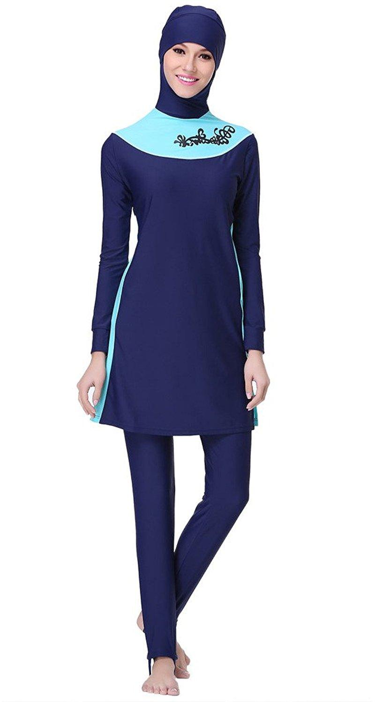 b5848255b1f5d Get Quotations · Ababalaya Womens  Modest Burkini Swimsuit Muslim Swimwear  Hijab Swimsuit