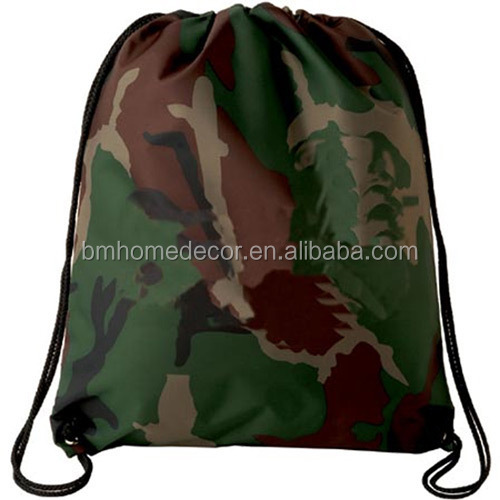 Promotional Polyester Army Military Camo Drawstring Bag ...