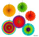 6 Pcs Fiesta Colorful Paper Fans Round Wheel Pattern Design Vibrant Bright Colors Hanging Paper Fans Rosettes Party Decoration