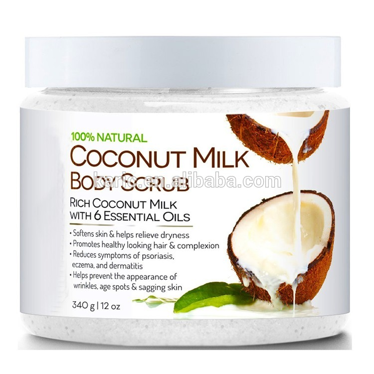 Coconut Milk Body Scrub 100% Natural 12 oz