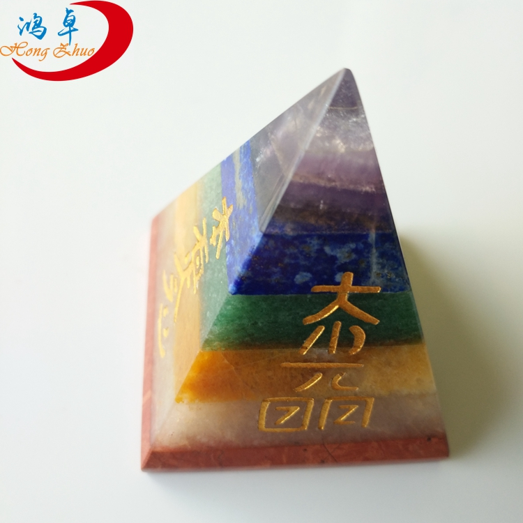 7 Chakra Healing pyramid Semi Precious Stone Usui Reiki Crystal 30mm for sale