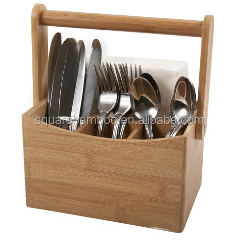 bamboo kitchen cutlery caddy