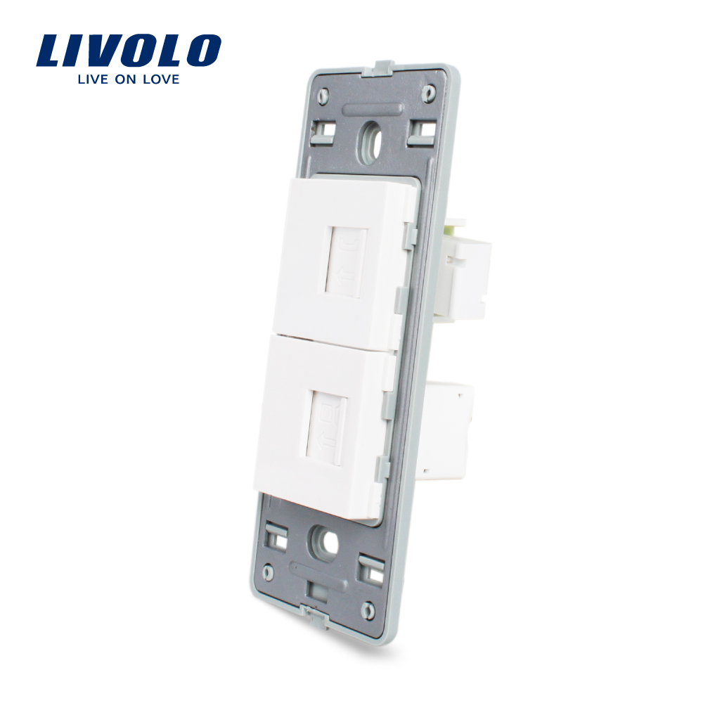 Livolo US Computer and Telephone Socket Without White Pearl Crystal Glass <strong>Internet</strong> electrical wall socket VL-C5-1TC-<strong>11</strong>