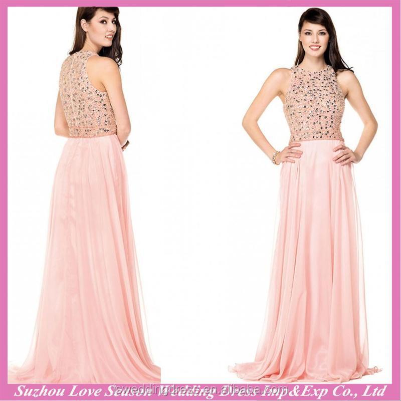 Venta al por mayor vestidos de gasa largos rosa marron-Compre online ...
