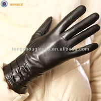 High quality new collection lady leather gloves with three bow