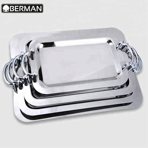 Catering product restaurant buffer dish fancy metal stainless steel rectangular ss buffet serving tray wholesale