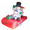 funny inflatable christmas decorations inflatable snowman with snowboard manufacturer china
