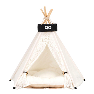 Big Size Dog Cat Tent Pet Beds Accessories Teepee Wooden Pet Tents