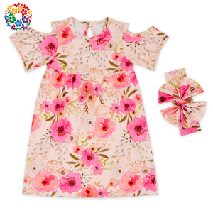 Short Sleeve Baby Party Dress Floral Prints Dresses Girls Wholesale Little Flower Girl Dress For Under 6 Years Children