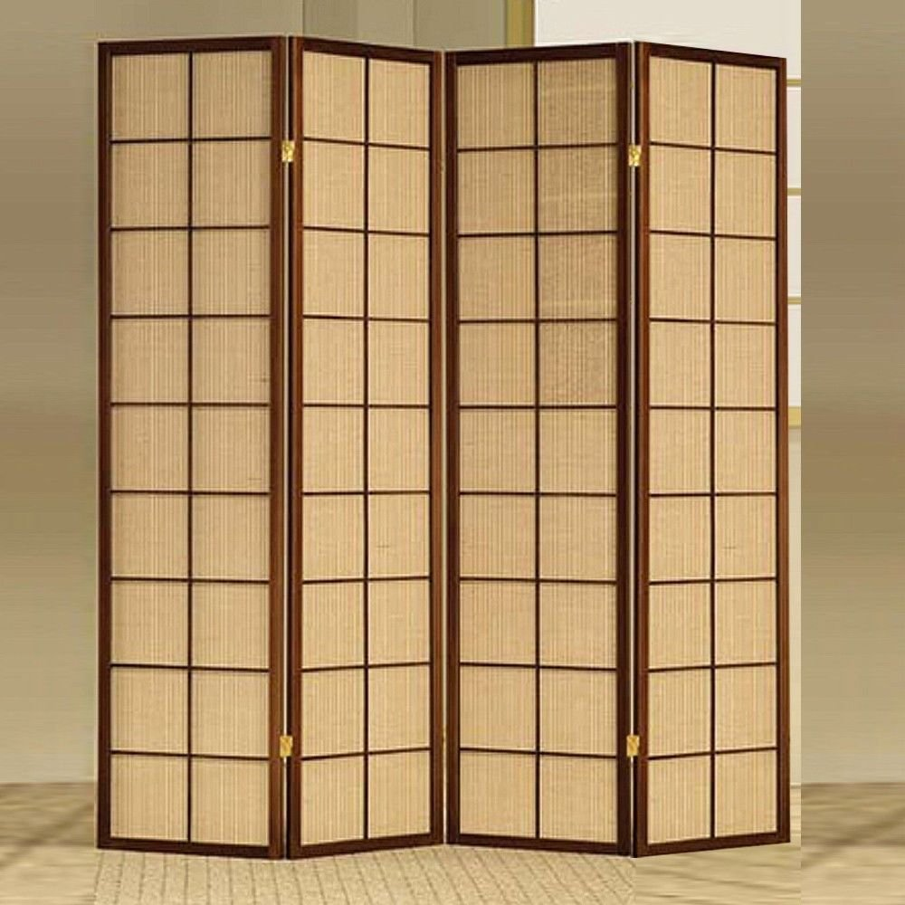 1PerfectChoice 4 Folding Panels Wood Shoji Room Divider Screen Oriental Traditional Cherry