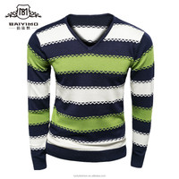 Colorful Custom V Neck Striped Men Pullover Sweater Wholesale