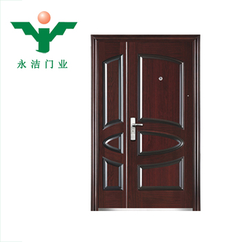 Galvanized Hollow Core Metal Glass Double Entry Doors Front Entry