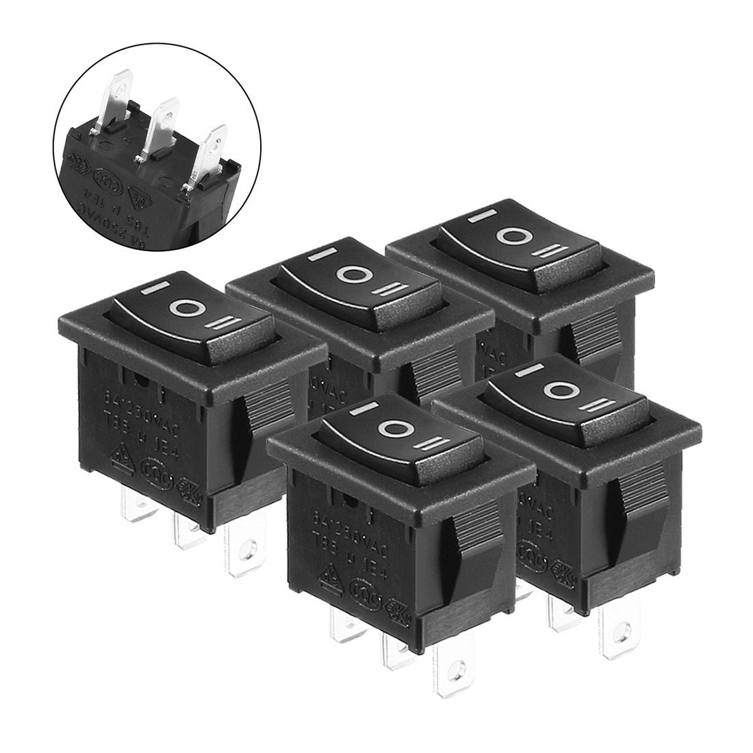 uxcell 5pcs AC 6A/250V 10A/125V On/Off/On SPDT Rocker Switch Latching