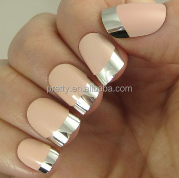 24pcs Beautiful Beige Nail With A Metallic Silver Tips Natural Art Kits Glue Inside