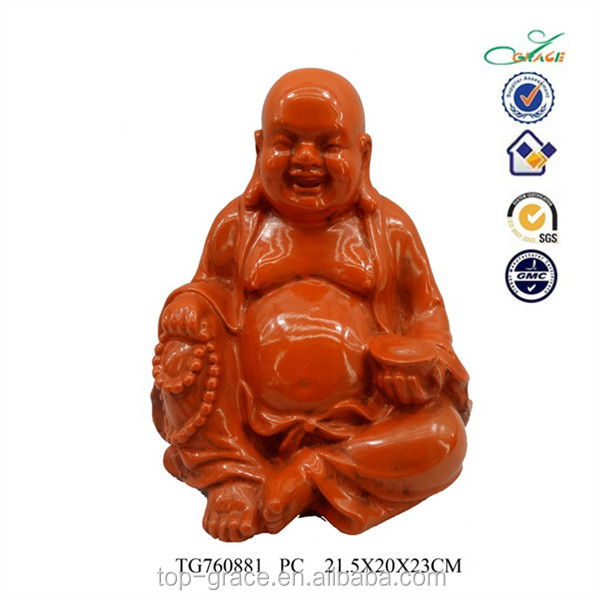 resin happy red buddha statue ,chinese deity resin