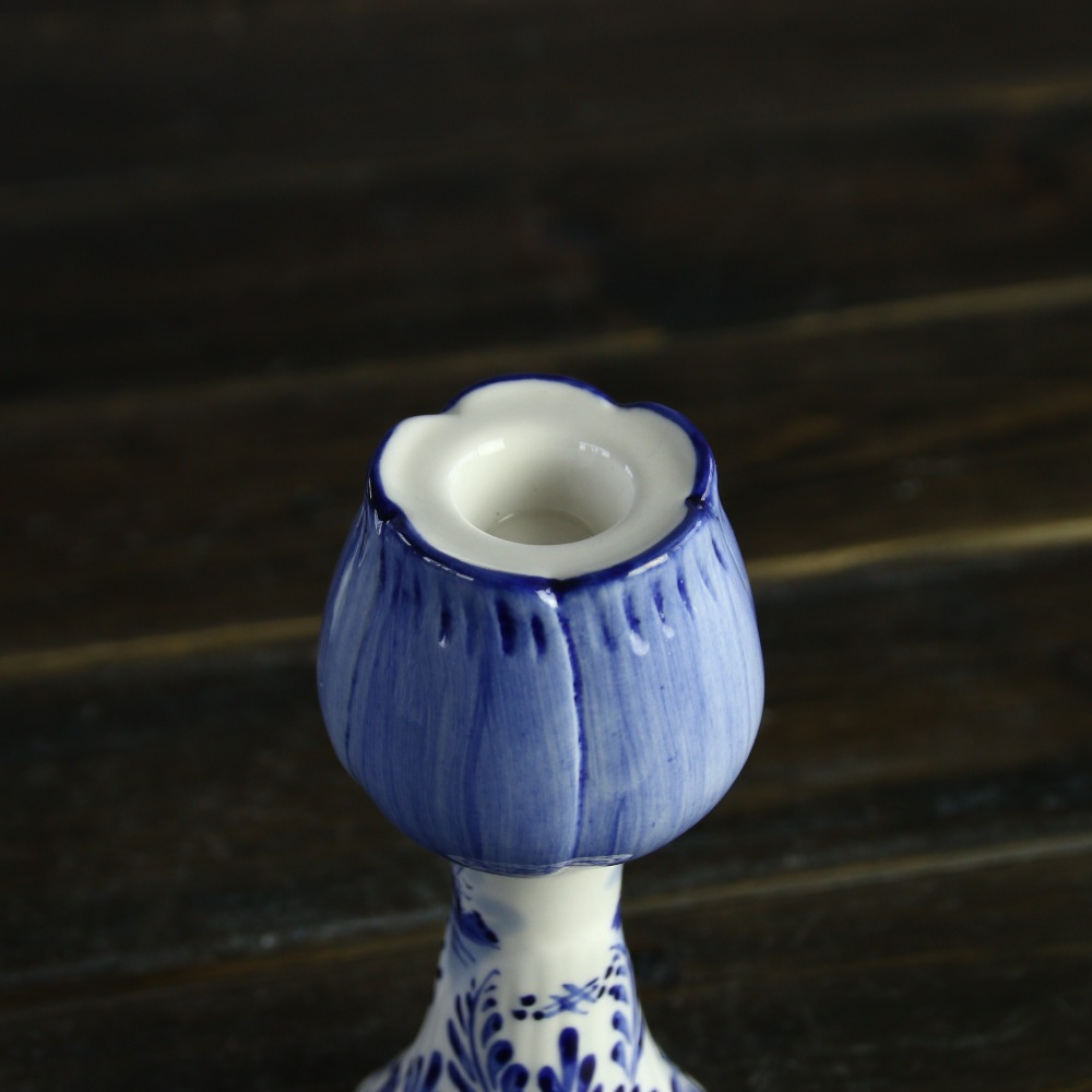 Delft ceramic blue and white stoneware candle holder