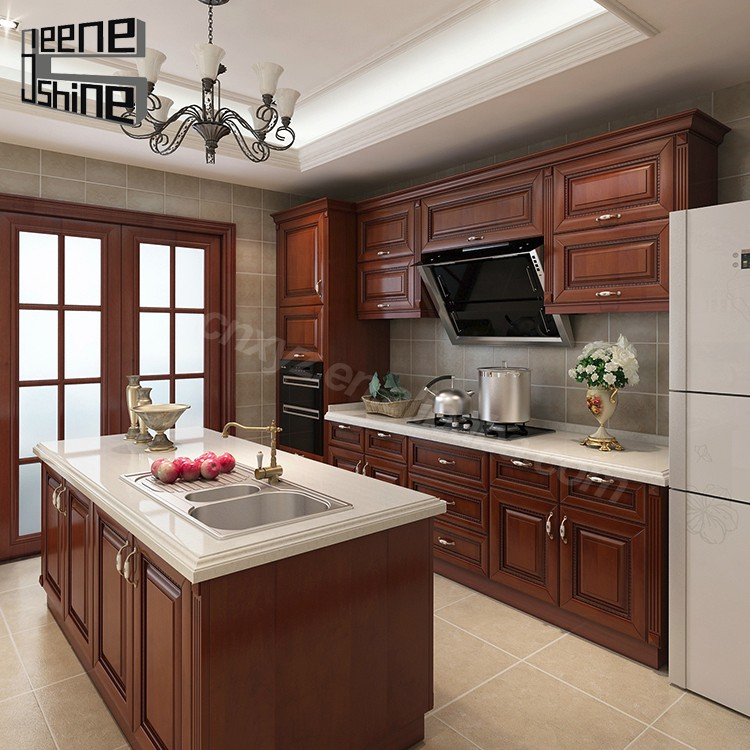 Kitchen Direct Cabinets: Brown Color Modern Design Modular Solid Wood Kitchen