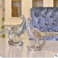 Silver Peacock polyresin animal figurines for wedding gifts