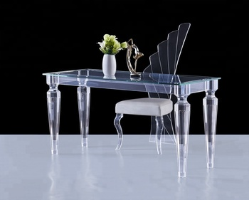 Acrylic dining table with tempered glass,modern appearance comfortable furniture